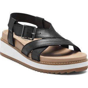 Lucky Brand Irissy Wedge Sandals Black Leather 9